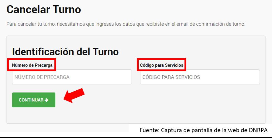 Cancelar Turno DNRPA